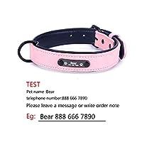 パーソナライズされた犬の首輪調節可能なソフトレザーカスタム犬の首輪名IDタグ猫子犬用大型犬の首輪ペットアクセサリー-ピンク-XXLネック53-62cm