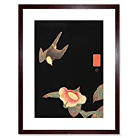 Jakuchu Swallow and Camellia Artwork Framed Wall Art Print 9X7 Inch 壁