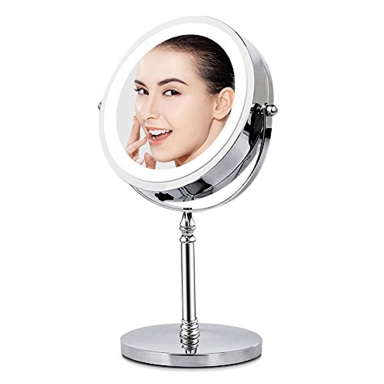 踏みつけ漏れ遅れBRIGHTINWD LED化粧鏡 「10倍拡大鏡&等倍鏡 LEDライト付き 360度回転」 卓上鏡 両面鏡 メイク道具 スタンドミラー 日本語取扱説明書付き