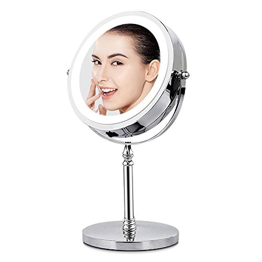 アデレード不潔コーンBRIGHTINWD LED化粧鏡 「10倍拡大鏡&等倍鏡 LEDライト付き 360度回転」 卓上鏡 両面鏡 メイク道具 スタンドミラー 日本語取扱説明書付き
