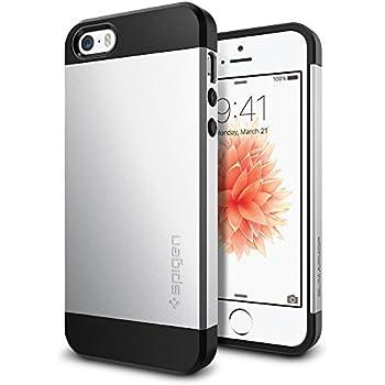 【Spigen】 スマホケース iPhone SE ケース / iPhone5s ケース / iPhone5 ケース 対応 米軍MIL規格取得 耐衝撃 二重構造 スリム・アーマー 041CS20249 (サテン・シルバー)