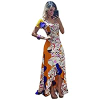 Womens Summer Maxi Shirt Dress - Sexy V Neck Short Sleeve Striped Floral Printed Long Dresses