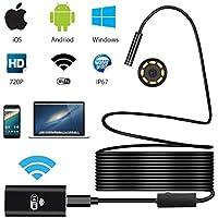 Ephram ワイヤレス内視鏡カメラ スマホ iphone android ios pc対応 wifi接続 ファイバースコープ アンドロイド 8mm極細レンズ 200万画素 録画可能 エンドスコープ IP67防水 8LEDライト 照度調節可能 USBマイクロスコープ 硬性内視鏡 設備の点検 USB接続スネークカメラ スコープ