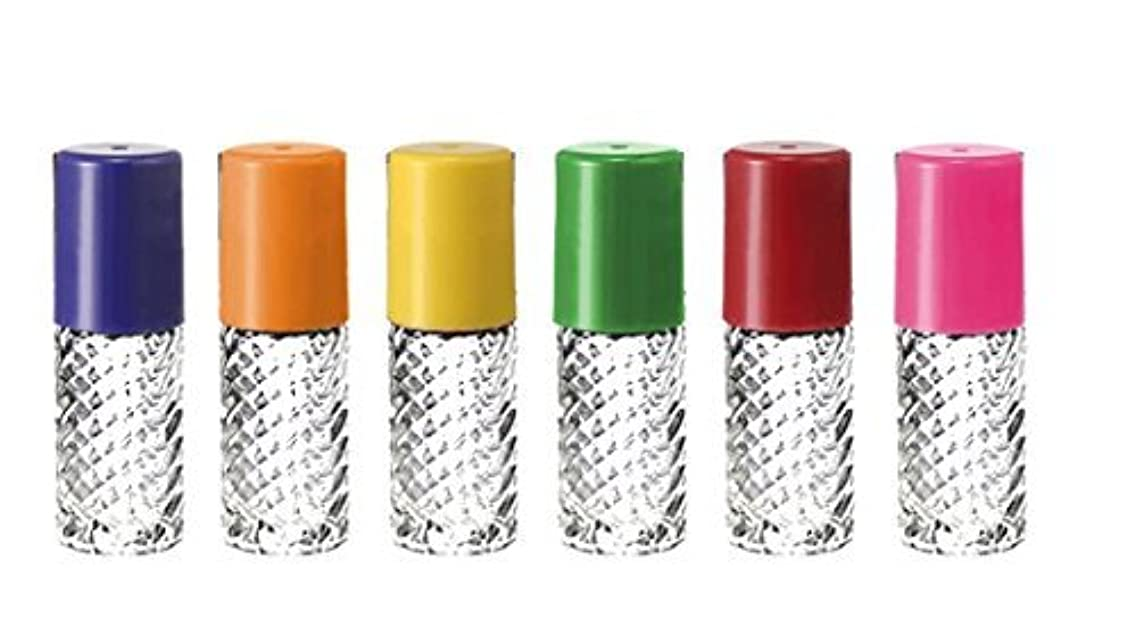 海賊上げる排泄するGrand Parfums Rainbow Fancy Large 30ml Roll On Empty Glass Bottles for Essential Oils Refillable 1 Oz Glass Roller...