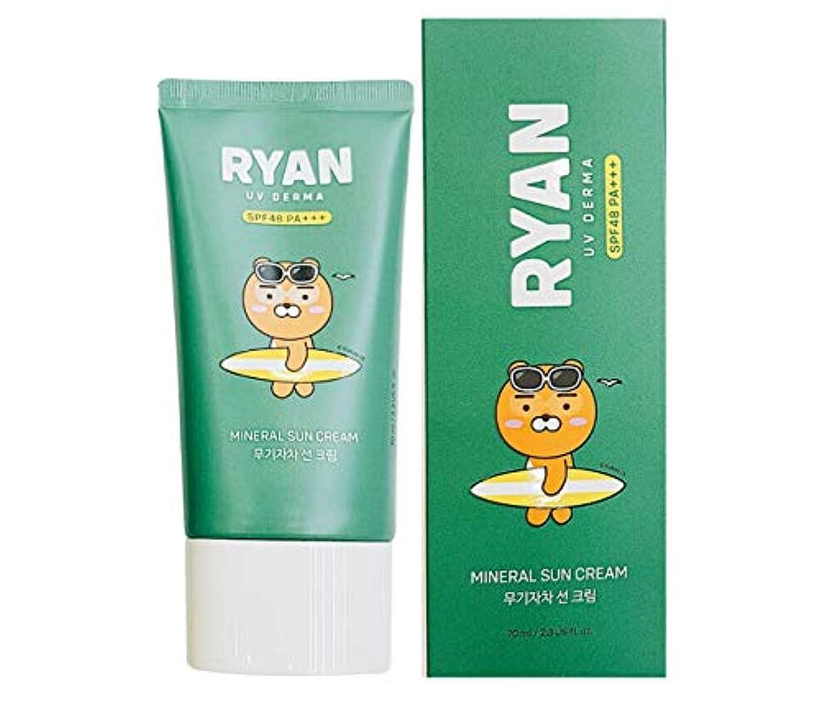 スリンク適度にモード[ザ?フェイスショップ] THE FACE SHOP [カカオフレンズ ライオン UVデルマ ミネラル サンクリーム 70ml] (Kakao Friends RYAN UV Derma Mineral Sun Cream...
