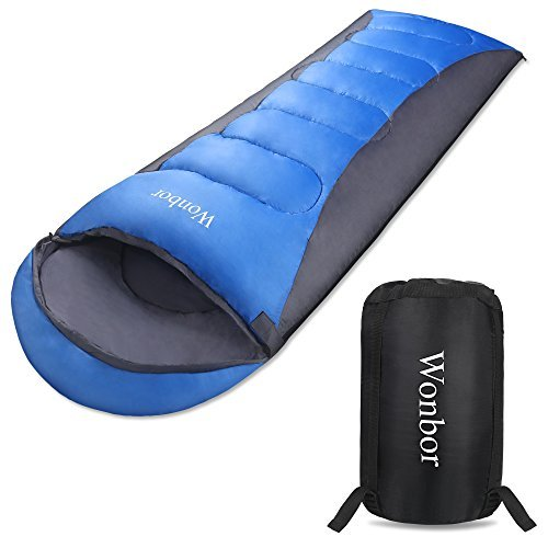 Wonbor 寝袋 シュラフ 封筒型 スリーピングバッグ -10℃~10℃ 冬用 190t 防水 軽量 コンパクト 収納袋付き キャンプ アウトドア 登山 丸洗い 車中泊