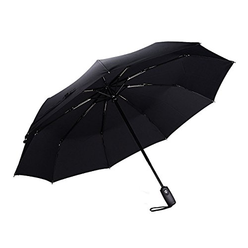 PrimAcc 折り畳み傘 ワンタッチ自動開閉 高密度 撥水加工 9本骨 軽量傘 耐風 ステンレス 直径94cm ブラック 12ヶ月保証