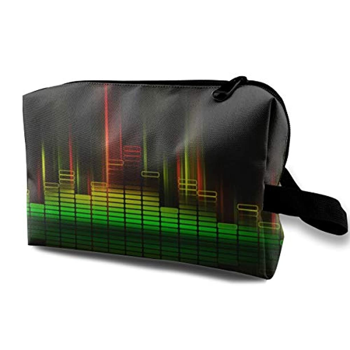 悪質な非難場合Cool Music Equalizer 収納ポーチ 化粧ポーチ 大容量 軽量 耐久性 ハンドル付持ち運び便利。入れ 自宅?出張?旅行?アウトドア撮影などに対応。メンズ レディース トラベルグッズ