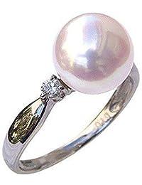 真珠の杜 オーロラ 花珠真珠 パールリング 真珠指輪 あこや本真珠 花珠 9mm 大珠 パール PT900 プラチナ リング ダイヤモンド 0.10ct 真珠科学研究所 9.5号