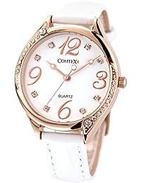 Comtex 腕時計 ホワイト皮革 バンド ウォッチ ローズゴールド 可愛い 丸い 時計 レディース