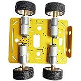 Perfeclan 4WDロボットカーシャーシ RCスマートロボット車シャーシ オールメタル構造 組み立て 全2サイズ - 12Vコードレスディスクモーター