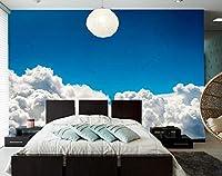 Lcsyp カスタム3D壁画、青空白い雲3d背景壁紙、ホテルレストランリビングルームソファテレビ壁寝室壁紙-350X245CM