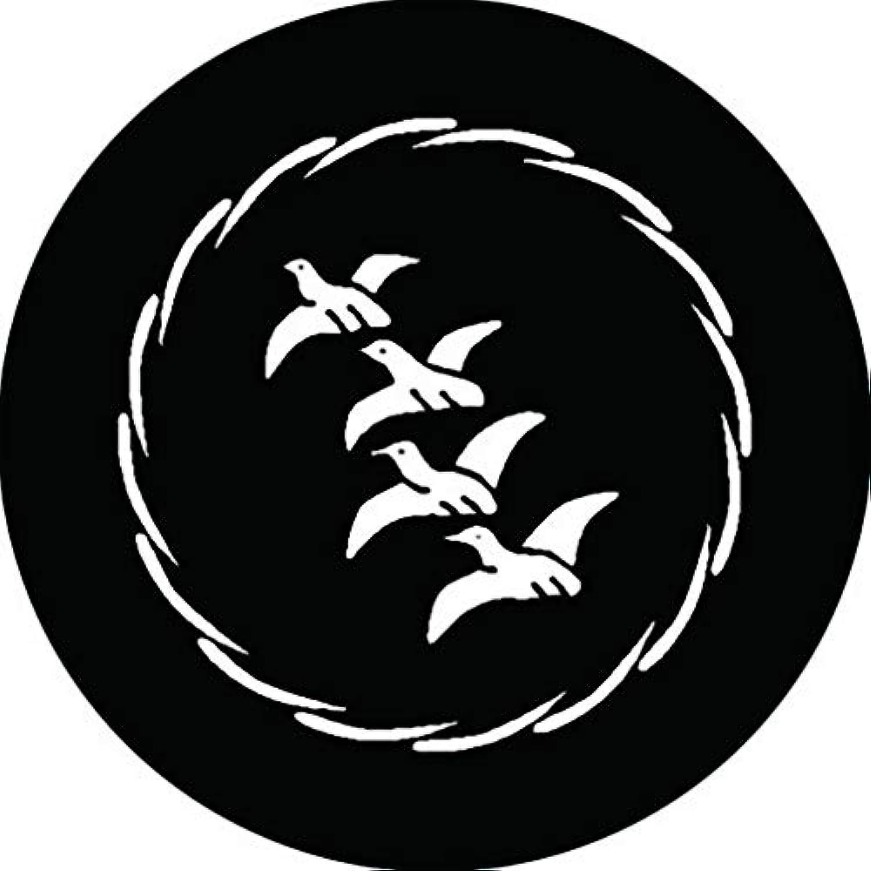 家紋シール 薄輪に四羽飛び雁金紋 布タイプ 直径40mm 6枚セット NS4-2576