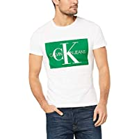Calvin Klein Jeans Men's Monogram Box Logo Slim T-Shirt, White with Green, XS