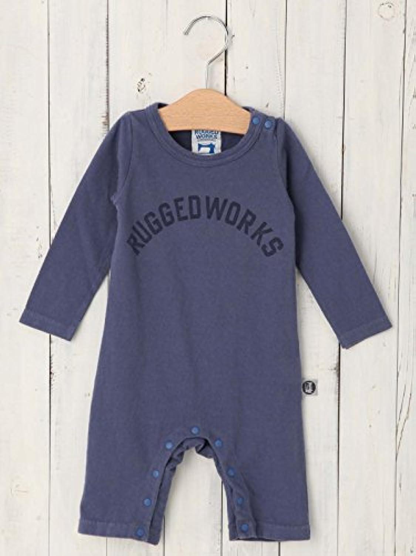 RUGGED WORKS (ラゲッドワークス) 日本 製 ベビー ロゴ ロンパース 赤ちゃん 男の子 女の子 長袖 生後5~7ヶ月 70 ネイビー