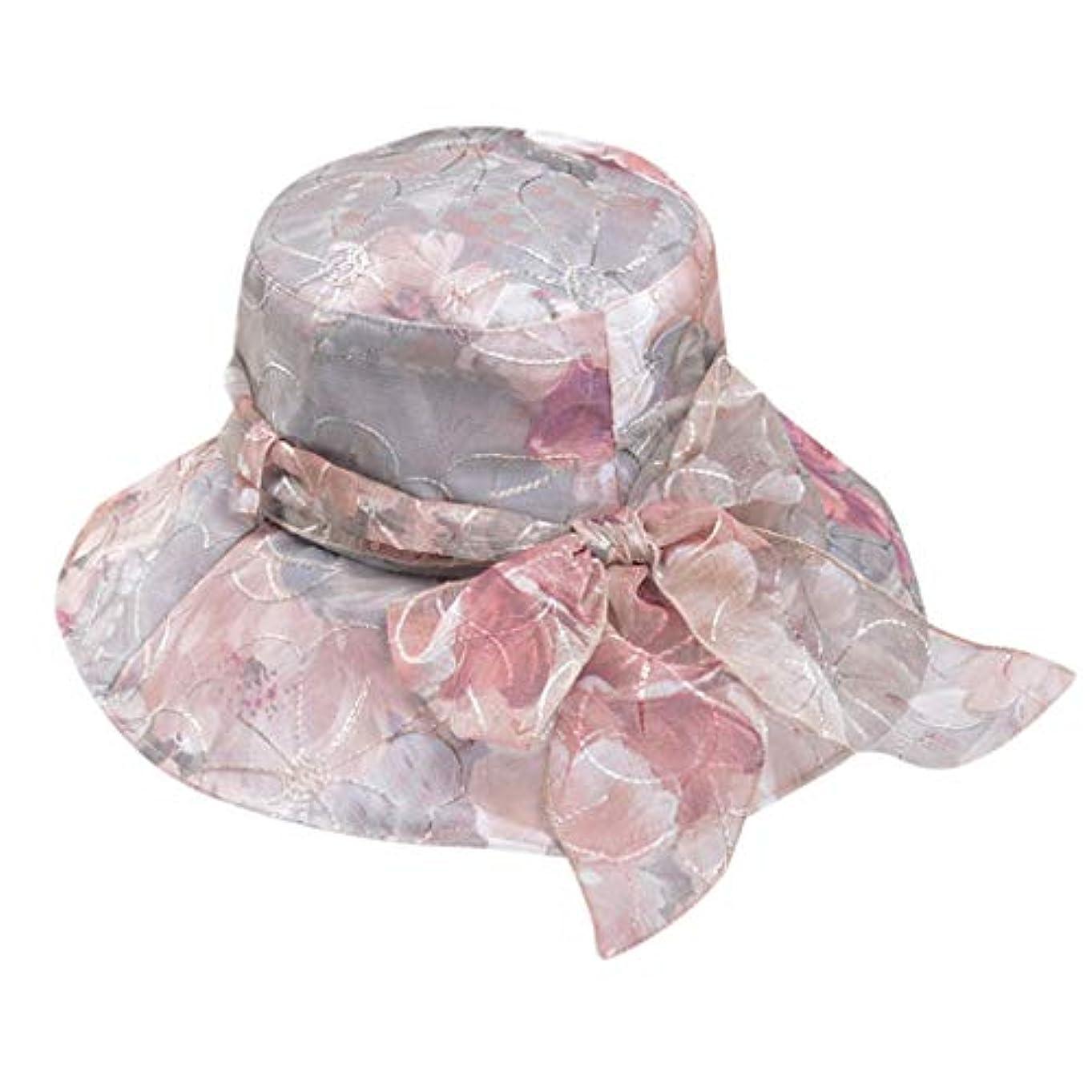 愛撫電気の責めるアウトドア レディース UVカット 帽子 シフォン 花柄 刺繍 ビーチ 紫外線対策 日焼け防止 女優帽 つば広 プリンセス 夏 必須 おしゃれ ハット レディース 可愛い かわいい ファッション トレンド ROSE ROMAN