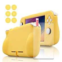 Protective Grip Case for Nintendo Switch Lite, Soft Silicone Case for Nintendo Switch Lite with Screen Protector and 6 Thumb Grips - Yellow