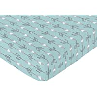 Sweet Jojo Designs Fitted Crib Sheet for Turquoise Blue and Gray Earth and Sky Baby/Toddler Bedding - Arrows Print [並行輸入品]