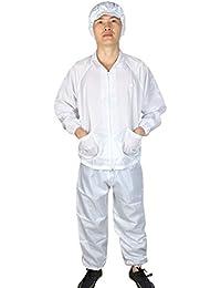 uxcell アンチスタティックオーバーオールスーツ ユニセックス ホワイト ロングスリーブ ジップアップストライプパターン L