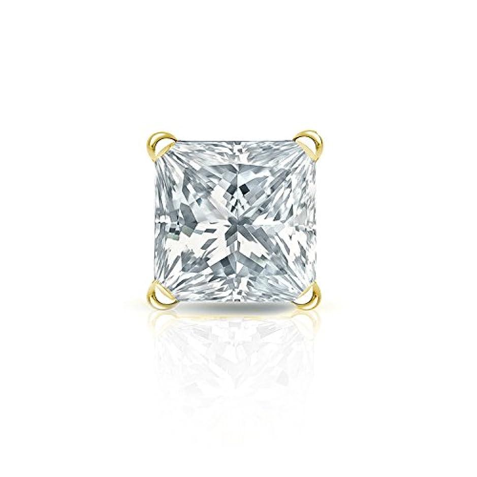 有効な裁判官頑張る18 Kイエローゴールド4プロングMartiniプリンセスダイヤモンドシングルスタッドイヤリング( 1 / 8 – 1 CT、Oホワイト、i2 - i3 ) screw-back