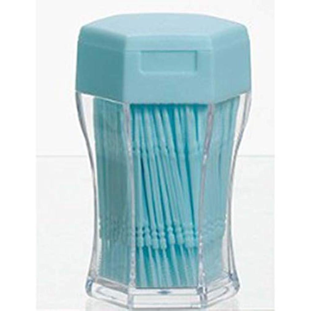 お風呂を持っている致命的な杭200ピース/セットダブルヘッド歯フロス衛生デンタルフロスプラスチック歯間つまようじ健康用歯のクリーニングオーラルケア - ブルー