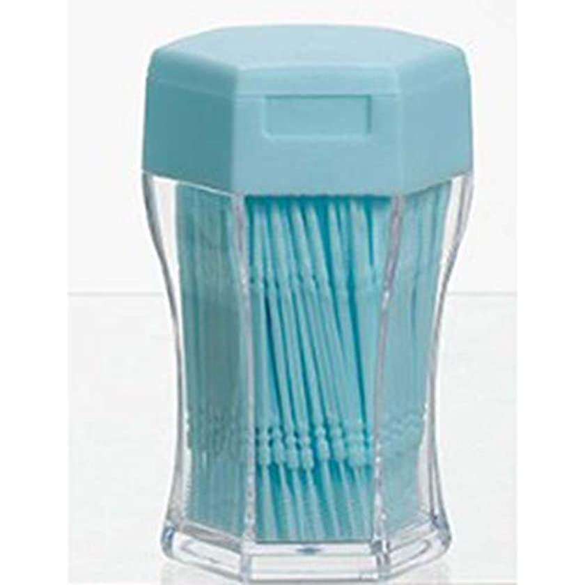 振動させる大使乗算200ピース/セットダブルヘッド歯フロス衛生デンタルフロスプラスチック歯間つまようじ健康用歯のクリーニングオーラルケア - ブルー
