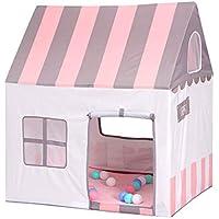 Floving可愛いキッズテント 子供テントピンク テントハウス子供 Kids Tent プレイテント テントおもちゃ 室内外使用可 秘密基地 隠れ家 知育玩具 おままごと 子供部屋 ストライプ