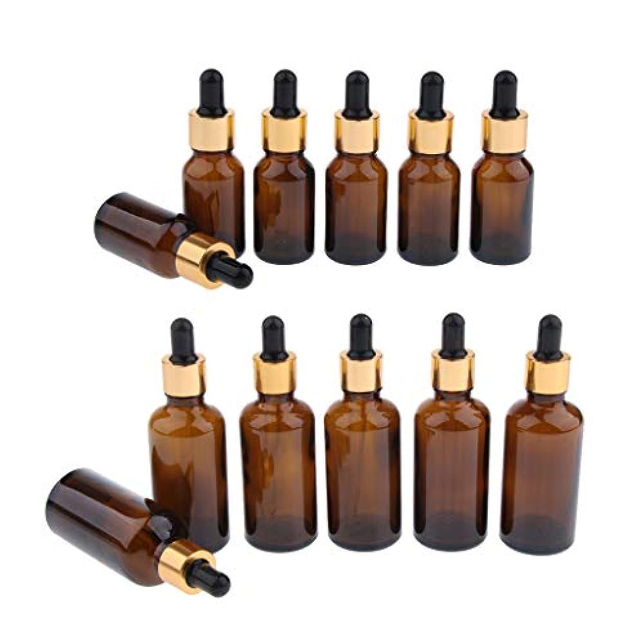 数値かなり困難FLAMEER 約12本 ドロッパーボトル エッセンシャルオイル コスメ 詰替え容器 茶色