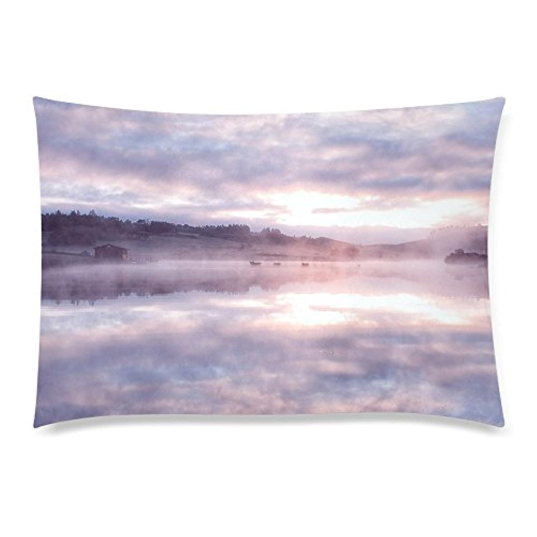 可愛い 子供 朝霧とスコットランドの湖の風景 座布団 50cm×72cm