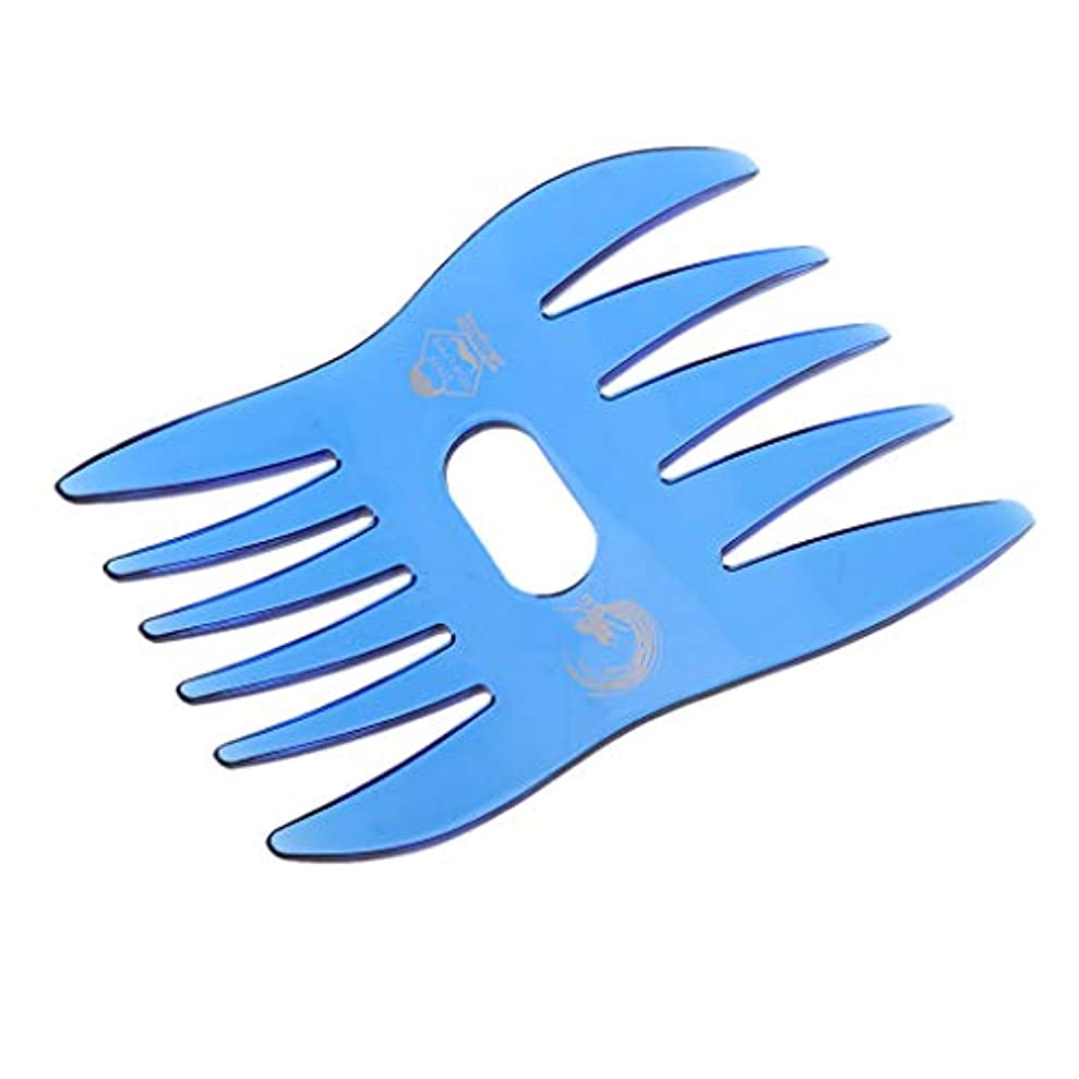 枯れる引く立方体デュアルサイドメンズオイルヘアコンサロン 帯電防止髪 くし 口ひげ - 青