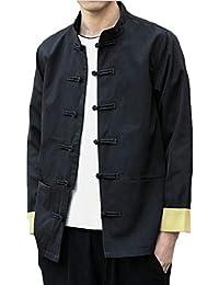 gawaga メンズ軽量中国スタイル刺繍ファッションジャケットコートアウト