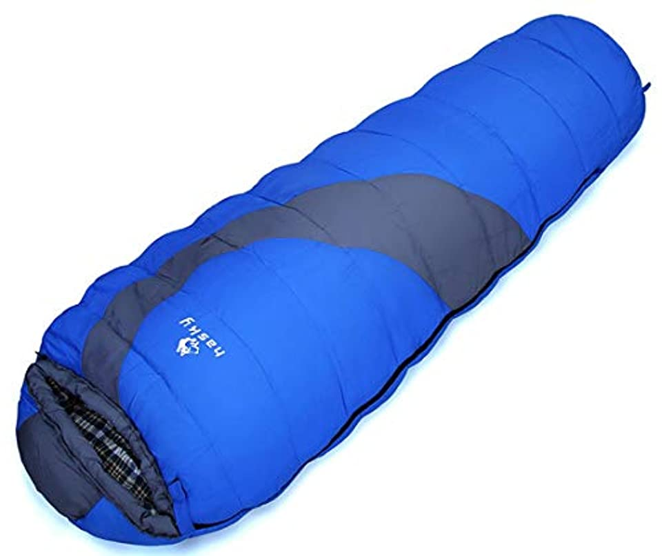 取り除く上陸誤ってYIJUPIN 寝袋は暖かいフィールドを保つ携帯ミイラキャップとの相互の戦い寝袋肥厚充満7穴コットン通気性の寝袋 (色 : 青)
