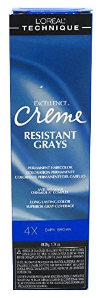 キャンディーはず世紀L'Oreal Paris ロレアルエクセルクリーム#4Xダークブラウン1.74Oz(2パック)レジスト