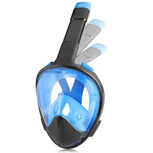 HiCool フルフェイス シュノーケル マスク 防水 折りたたみ式 無臭液体シリコン 口からも鼻からも呼吸可能 防曇リ 180°超広角 改良ドライシュノーケル 大人用