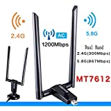 USB 3.0 WiFi Adapter, Free Driver Dual Band 2.4/5.0 GHz Wireless Network Adapter With Dual 5dBi Antenna 802.11AC for Laptop Desktop PC