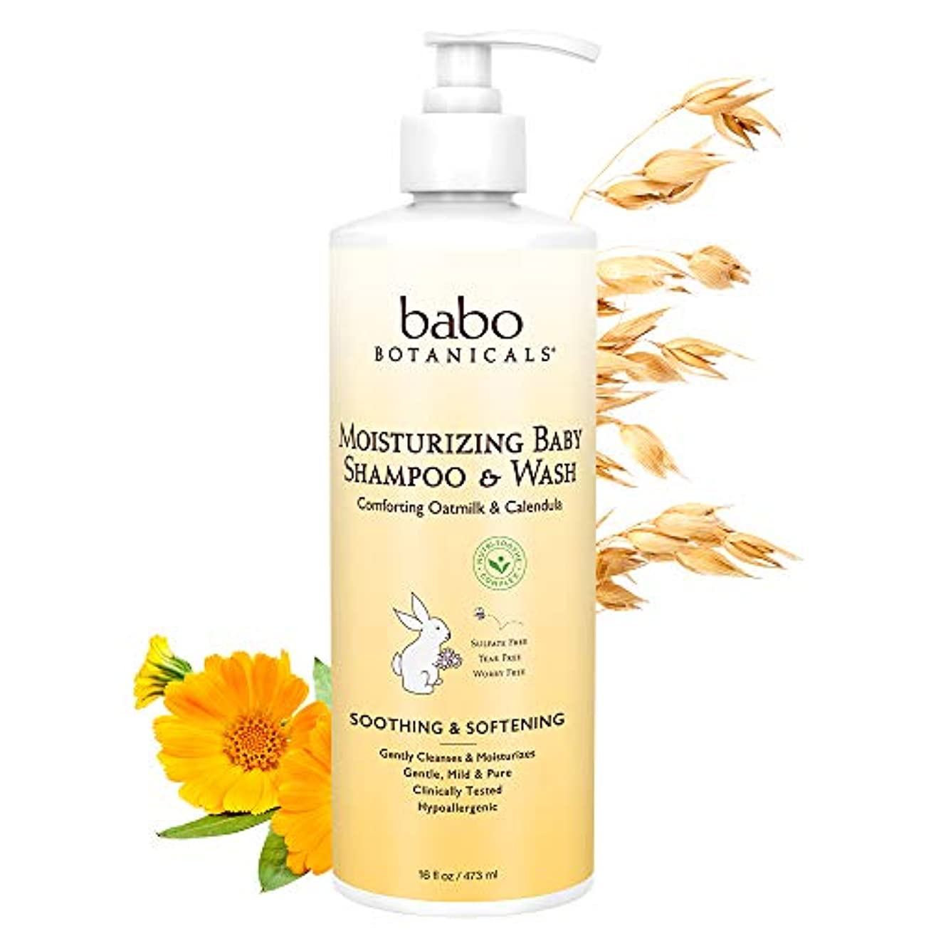 スクランブル本物のマークされたBabo Botanicals Moisturizing Baby Shampoo & Wash (For Sensitive & Dry Scalp & Skin) 473ml