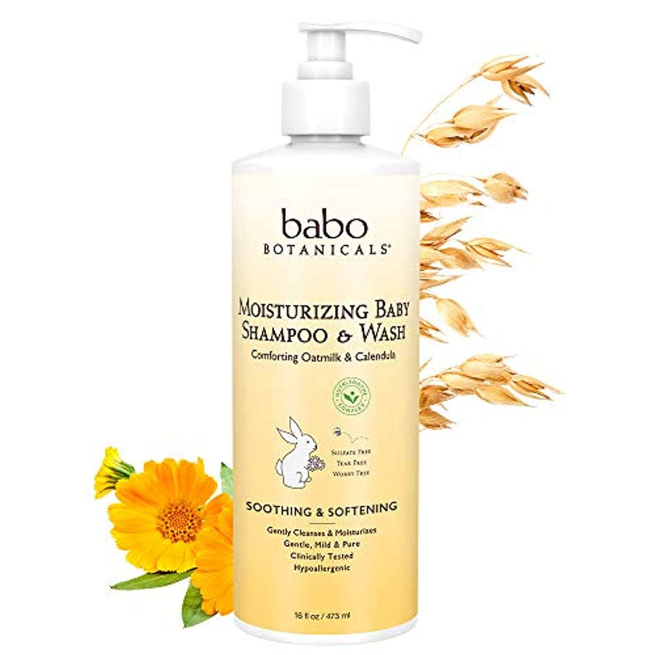 フラグラント開梱トレッドBabo Botanicals Moisturizing Baby Shampoo & Wash (For Sensitive & Dry Scalp & Skin) 473ml