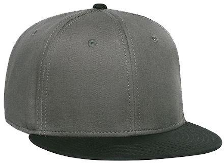 OTTO オット コットン ツイル フラット バイザー ベースボール キャップ 12カラー 125-1038 Superior Cotton Twill Flat Visor Snapback Pro Style Caps【並行輸入品】 (ブラック/チャコール)