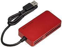 エレコム カードリーダー USB3.0 9倍速転送 スリムコネクタ ケーブル一体タイプ レッド MR3-A006RD