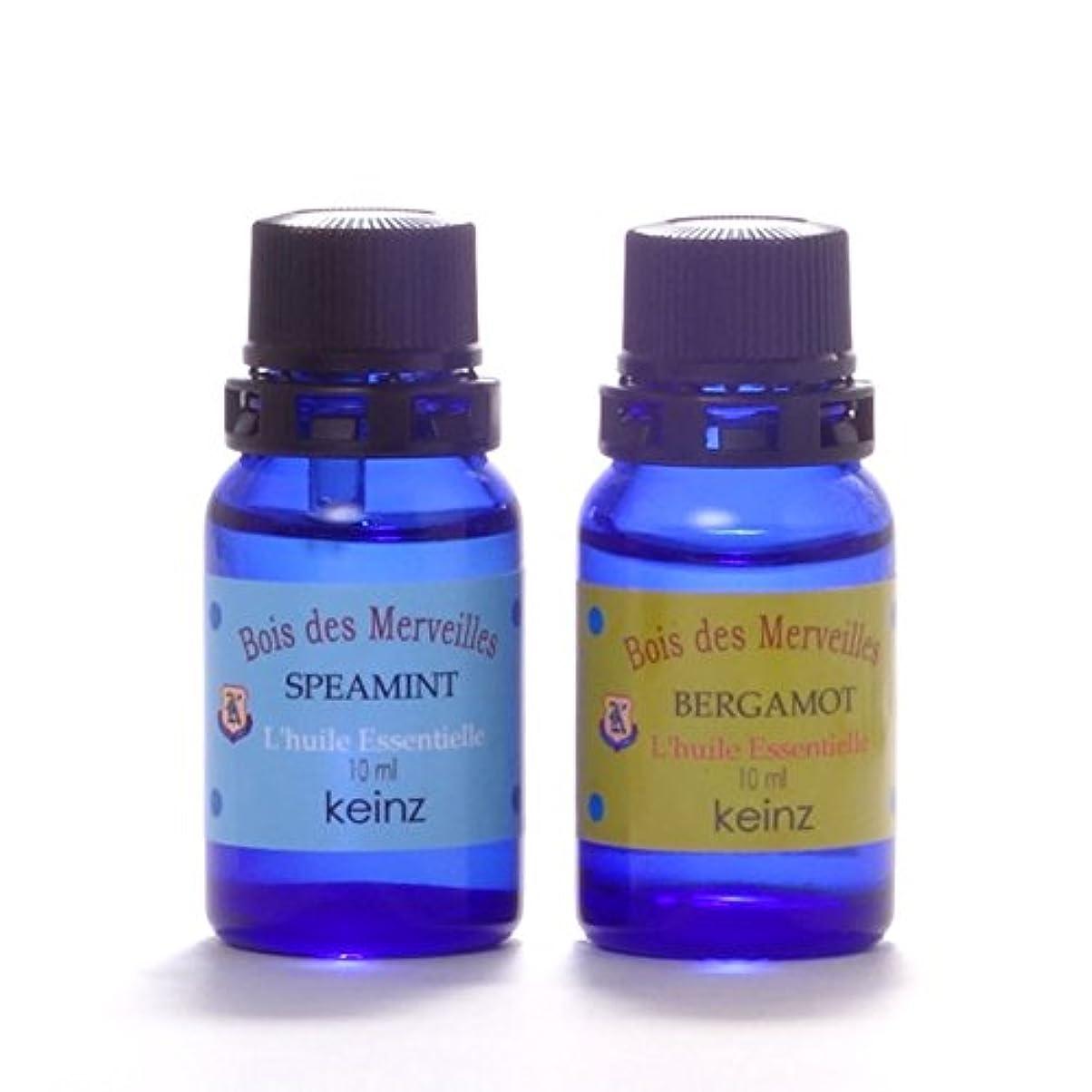 推進シェル風keinzエッセンシャルオイル「ベルガモット10ml&スペアミント10ml」2種1セット ケインズ正規品 製造国アメリカ 完全無添加 人工香料は使っていません。