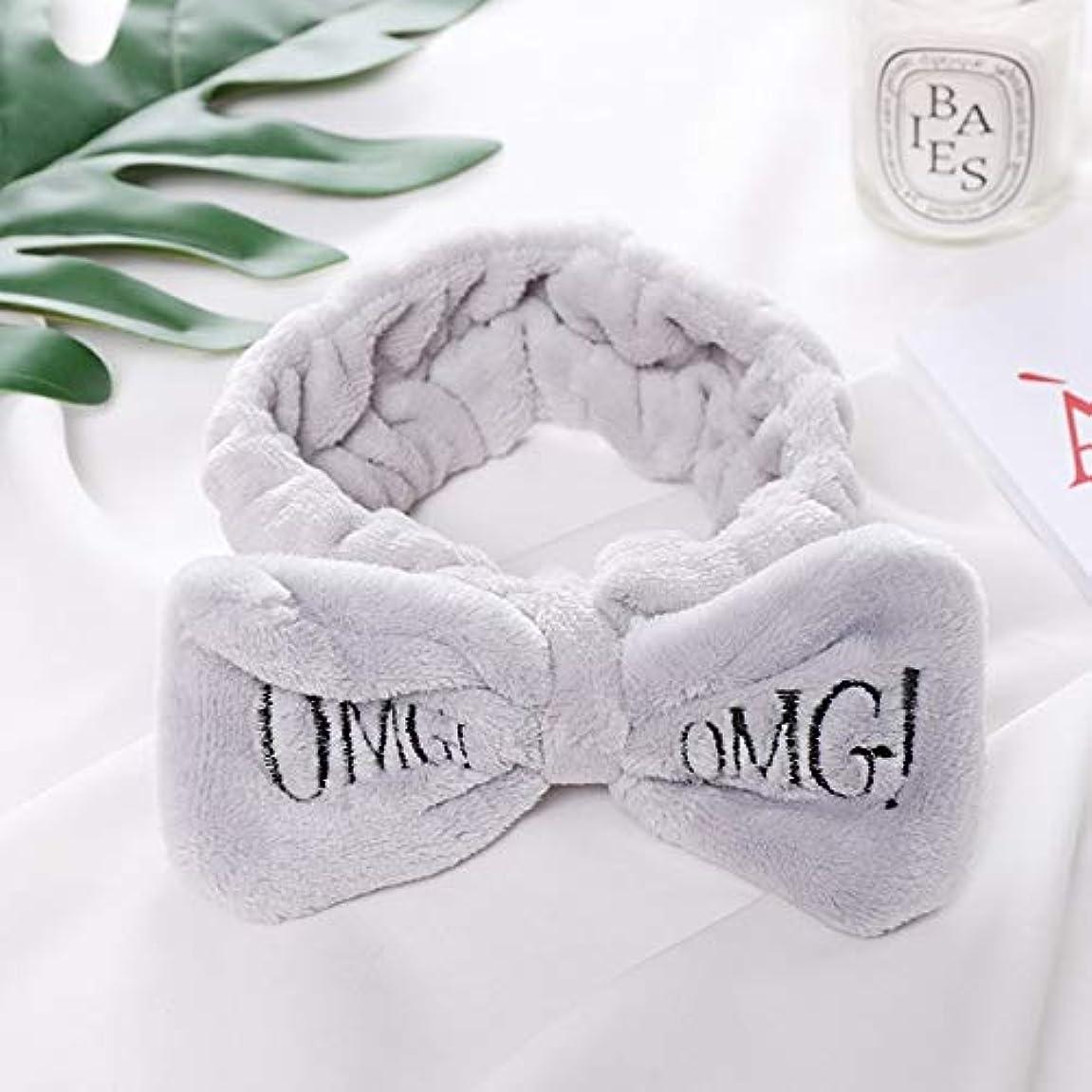 柔らかい城擬人化Hairpinheair YHM女性ニューレター「OMG」コーラルフリースソフトボウヘッドバンドかわいいヘアーホルダー帽子ヘアアクセサリー(ホワイト) (色 : Gray)