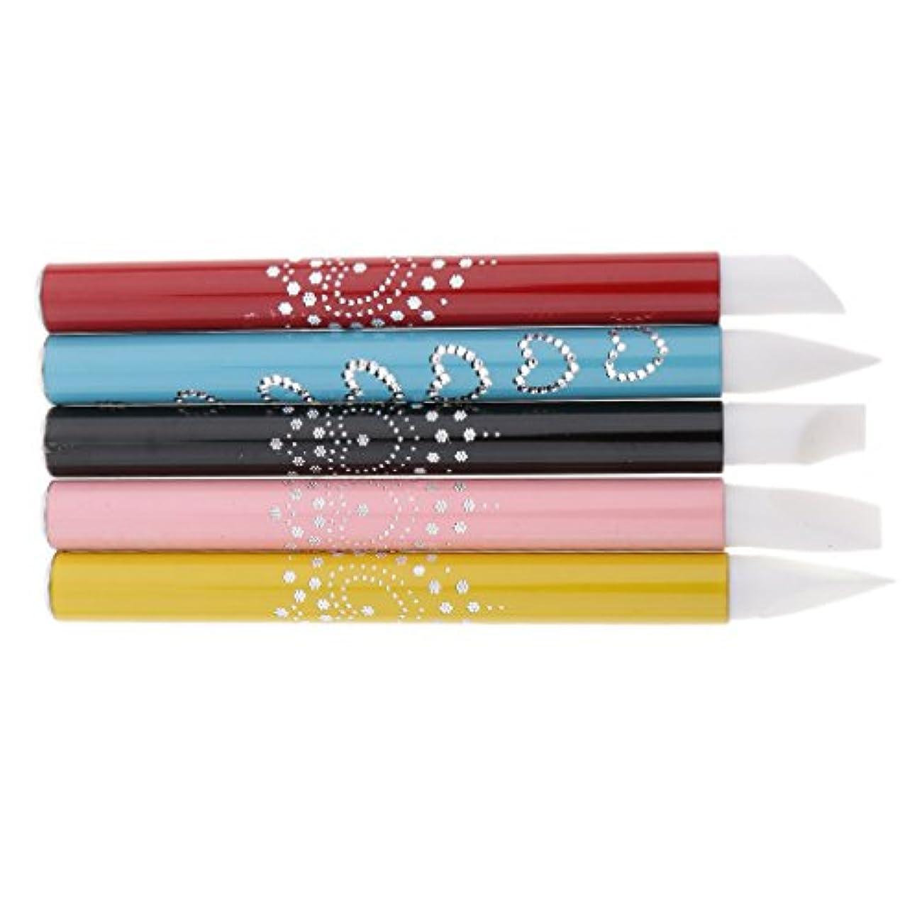 弾薬好ましい競う5個 ネイルアート ネイルペン ネイルブラシ シリコンチップ ブラシチップ 彫刻ペン アルミハンドル 繊細なデザイン プレゼント