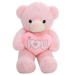 ぬいぐるみ 特大 くま テディベア I LOVE YOU 告白 可愛い熊 動物 大きい くまぬいぐるみ 熊縫い包み クマ 抱き枕 お祝い ふわふわ  お人形 女の子 男の子 子供 女性 抱き枕 プレゼント ビッグサイズ (60cm ピンク)