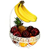 RosyLine,fruit basket and banana hanger, multi-purpose kitchen and living room storage fruit and vegetable basket, can store fruits, vegetables and snacks metal fruit bowl, (White Brushed Bronze)