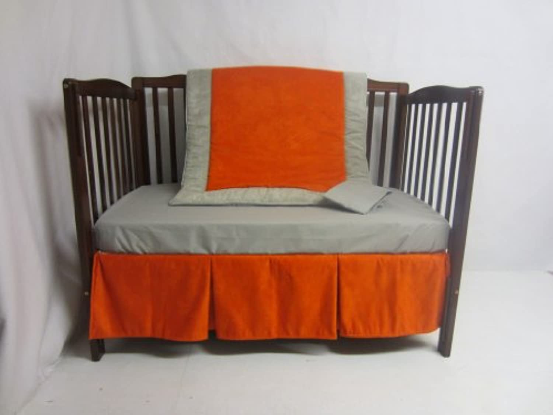 Baby Doll Bedding Zuma 4 Piece Crib Bedding Set, Grey/Pumpkin by BabyDoll Bedding