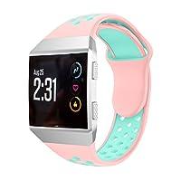Fitbit ionic バンド Yeezii  シリコン製 交換ベルト 多色選択 Fitbit ionic対応 (ピンクグリーン)