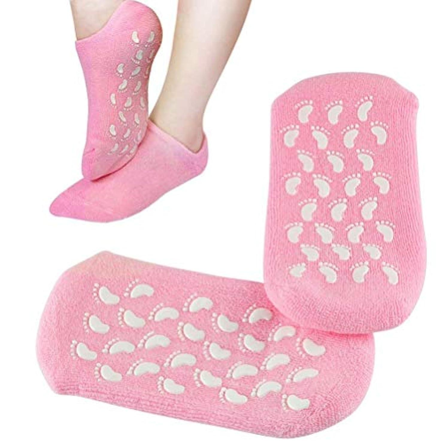 ハイジャックダンスポールPinkiou 靴下 ジェルソックス モイスチャーソックス かかと フットケアー 足の角質取り 美容 保湿 素肌ケア 角質ケア おやすみ前用 (ピンク)