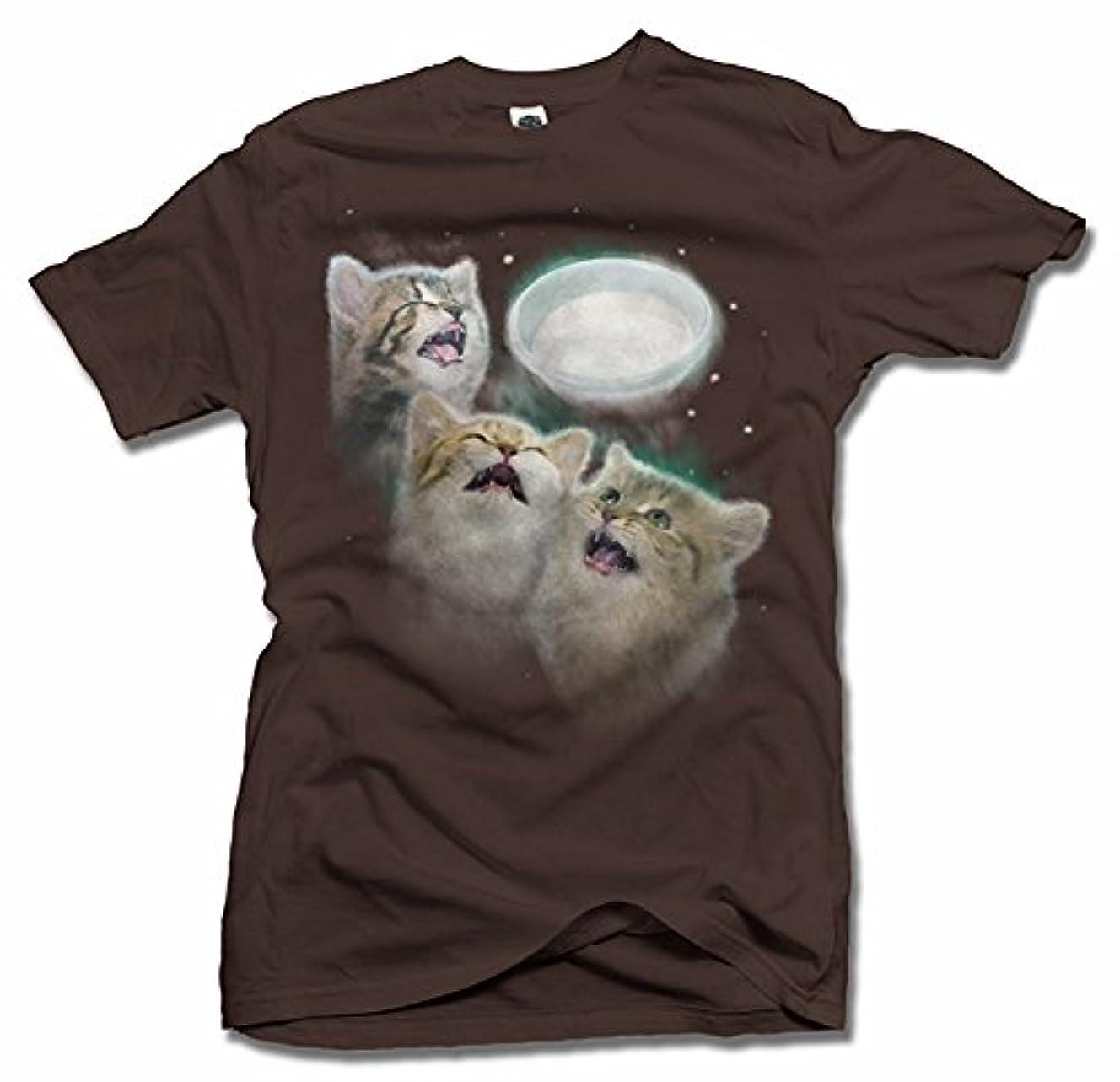 大統領罹患率ご覧くださいThree Cats Howling At The MilkホワイトメンズT (6.1 Oz)