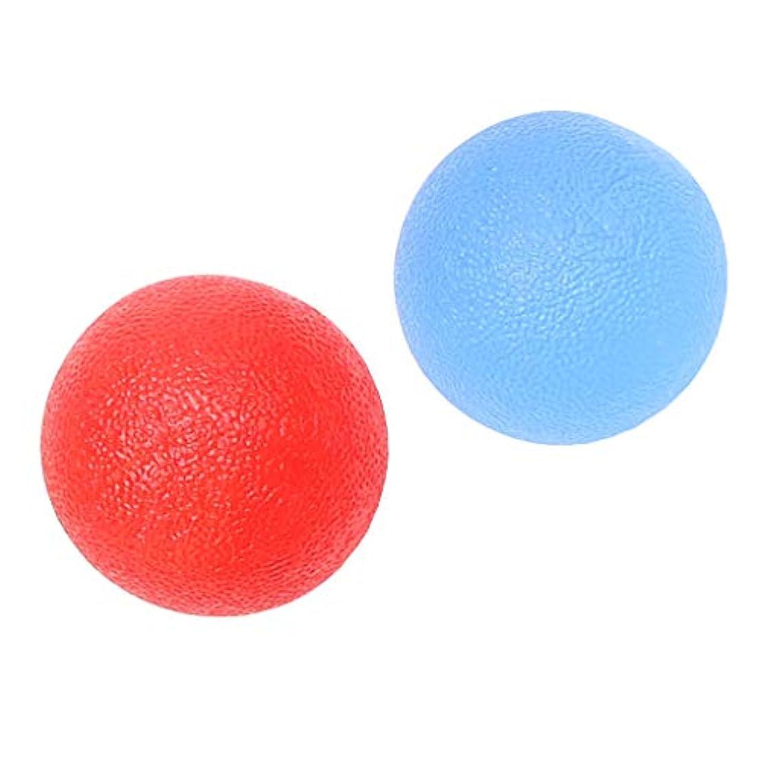 本質的ではない閉じるメーカー2個 ハンドエクササイズボール ハンドグリップ シリコン 指トレーニング ストレス緩和 柔軟 赤/青
