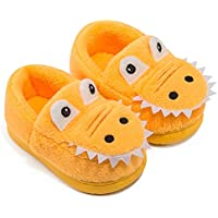 ZaYang Boys Girls Cartoon Dinosaur House Slippers Toddler Kids Fuzzy Warm Winter Indoor Bedroom Shoes